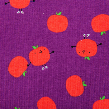 Cotton jersey printed funny apples purple