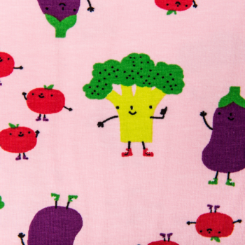 Cotton jersey printed smiling vegetables pink