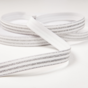 Soft touch elastic white silver stripes