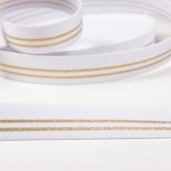 Elastic white golden stripes