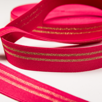 Elastic fuchsia golden stripes