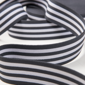 Soft touch elastic grey white stripes