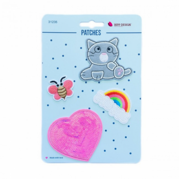 Iron on patches kitten heart