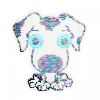 Reversible sequin patch sew on cute dog multicolored