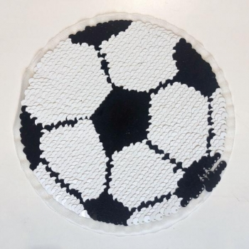 Reversible sequin patch sew on soccer ball multicolored
