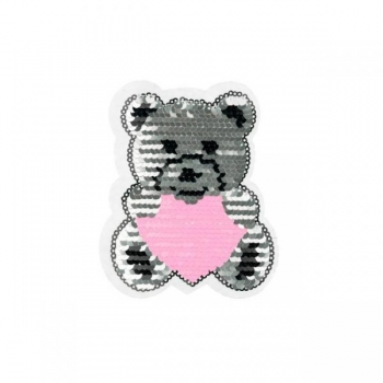 Reversible sequin patch sew on small teddybear heart multicolored