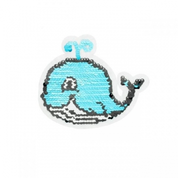 Reversible sequin patch sew on small whale multicolored