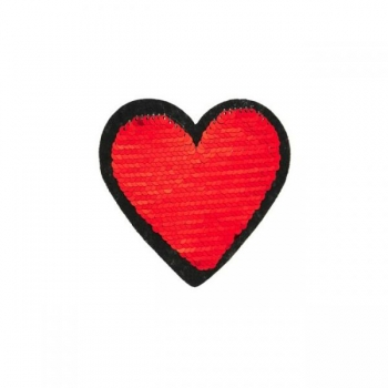 Reversible sequin patch sew on small heart red