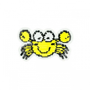 Reversible sequin patch sew on small crab yellow