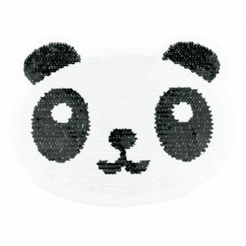 Reversible sequin patch sew on panda bear multicolored