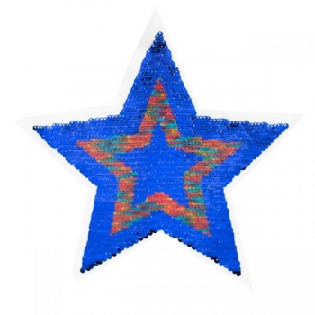 Reversible sequin patch sew on big star multicolored