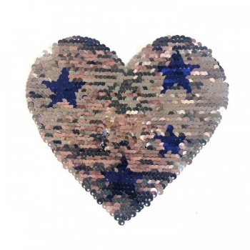 Reversible sequin patch sew on smaal heart with star multicolored