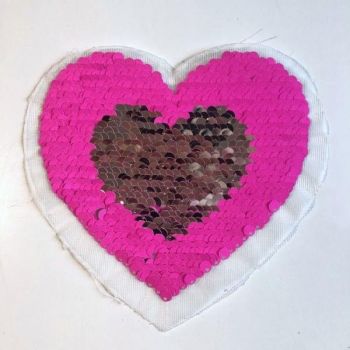 Reversible sequin patch sew on small heart pink/silver