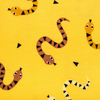Cotton jersey printed snakes yellow