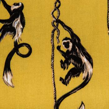 100% viscose printed climbing monkeys mustard