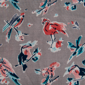 100% viscose printed falmingos and parrots grey