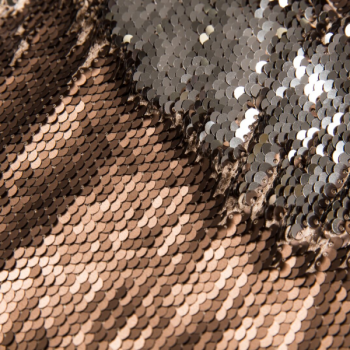 Reversible sequin fabric bronze and silver