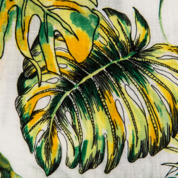 Rayon printed green and yellow leaves