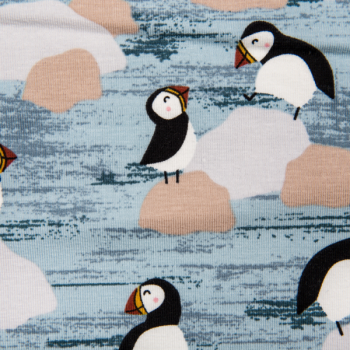 Cotton jersey printed penguins lines light blue