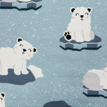Cotton jersey printed polar bears light blue