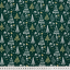 Cotton poplin printed different firs on green