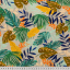 Cotton canvas printed tropical leaves grey