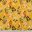 Cotton canvas printed colorful leaves yellow