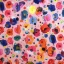 Cotton jersey digital printed watercolor flowers multicolored