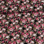 Cotton poplin printed romantic rose pattern black multicolored