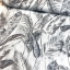 Cotton canvas printed deco leaves silver