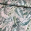 Cotton canvas printed green deco leaves multicolored