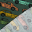 Cotton jogging fleece printed old cars green