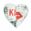 Reversible sequin patch sew on heart kiss silver/red