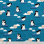 Cotton jersey printed penguins blue